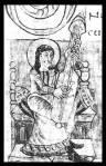 Ilustración de un instrumento parecido a una guitarra punteada en un salterio carolingio del siglo IX