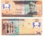 20 pesos dominicanos, en su nuevo y absurdo billete, por increíble que parezca, dado su valor