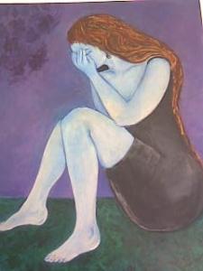"""""""La mujer azul"""", óleo sobre lienzo, 1993"""